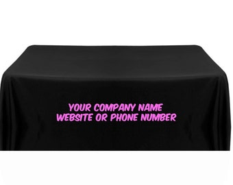 Custom Printed Black Table Cover With Pink Lettering
