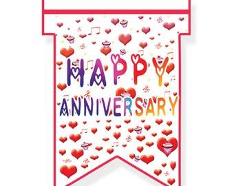 Bunting | Happy Anniversary | Party Decor | Bunting Flags