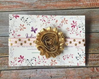 Pink & Gold Headband, Birthday Headband, 1st birthday, Pink and Gold Baby Headband, Baby Headband, Newborn Headband, Gold Headband, Headband