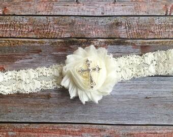 Cream or White Baptism Headband/Cream Baptism/Ivory Christening Headband/Cream Headband/Baby Headband/Lace Baptism Headband/Cross Headband
