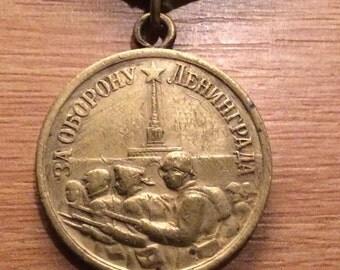 Original Soviet Russian Defence of Leningrad Medal Type 1