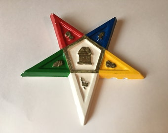 Vintage 1960s Chalkware OES Order of the Eastern Star Masons Painted Wall Hanging