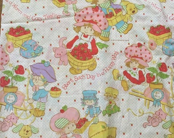 Vintage 1980 Strawberry Shortcake Twin Sized Sheet With Tear Perfect to Use for Sewing Projects