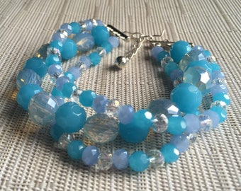 Ocean Blue Three Strand Bracelet