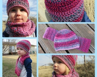 Crochet Hat & Scarf/Little Girl Hat/Little Girl Scarf/Crochet Beanie/Crochet Scarf/Toddler Hat/Crochet Set/Kid Hat and Scarf/Valentines/Pink