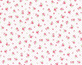 White Tiny Floral and Dots Cotton Fabric from the Flower Sugar Wind Spring 2017 Collection by Lecien Fabrics