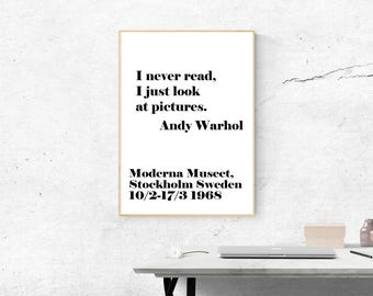 Andy Warhol Print I never read, Andy Warhol Quote, Andy Warhol Poster, Black And White, Modern Office Print, Typography Art, Fashion Print