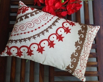 Red Embroidered Pillow Cover, Throw Pillow, Cotton Cushion cover, Suzani Pattern pillow cover, 12 x 18 pillow cover