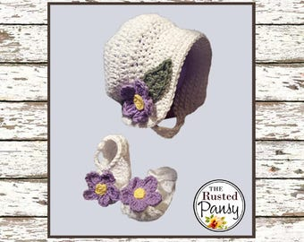 Crochet Baby Girl Summer Sun Hat Bonnet and matching Mary Jane Shoes, Size 9-12 Months