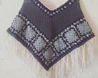 Winter wool poncho - XS/S