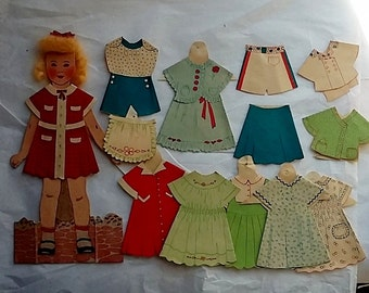 """c1940 Child's Set of Paper Dolls, Orig. Box """"Curly Top w/ Hair"""" Toy"""