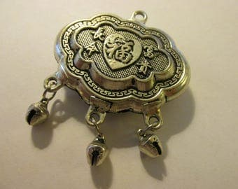 Vintage Chinese Miao Silver Longevity Lock Pendant with Three Dangling Bells, 1 3/4""