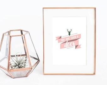 Such a Deer | funny art prints | digital download | printable art | deer wall art | blush and green wall art | funny art print | pun lover