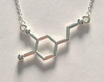 Silver Dopamine Science Symbol Necklace on an 18 inch Chain..