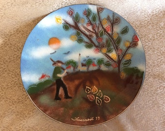 Vintage  Quebec mid century enamel on copper 1979 plate signed wall decor