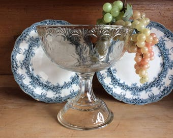 Antique 1900 EAPG Maple leaf pattern comport or Fruit stand open compote dish bowl