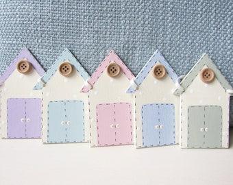 Beach Hut Bunting - Beach Huts, Beach Hut Bunting, Pastels, Summerhouse Bunting, Handmade Bunting, Summer Bunting.