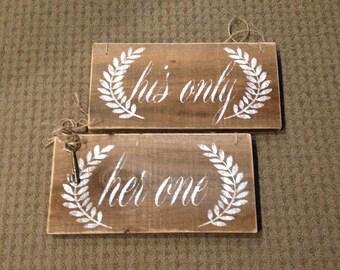 Rustic wedding, bride, groom, his, her barnwood signs.
