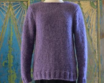 Purple alpaca sweaters, knitted