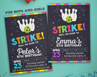 Bowling invitation - Bowling party invitation - Bowling birthday invitation - Bowling chalkboard invitation - For boys and girls