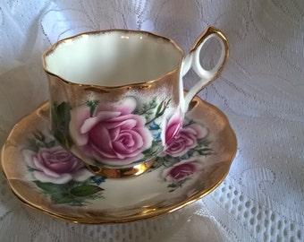 Vintage Elizabethan English Rose Teacup And Saucer