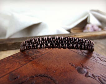Copper handmade wire wrap bracelet.  Celtic, boho, medieval, viking, tribal inspiration