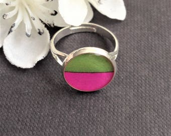 Handmade Pink and Green Ring - Colourful Ring - Resin Ring - Adjustable Graphic Design Ring - Jewellery Gift - Bridesmaid Gift - Pink Gift