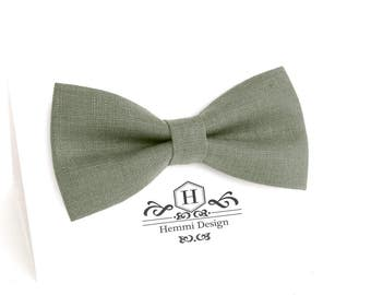 Hunter Green Bow Tie for wedding / linen bow tie for men / bow tie Green / bow tie for baby / Green boy's bow tie, men's Green bow tie