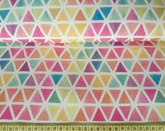 Rainbow colour Triangles on French terry fabric , one unit is 0.5m