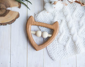 Organic Wooden Teether. Organic Wooden Rattle Toy. Beech teething Toy. Natural Wooden Toy.  Fox rattle.  Eco Friendly.