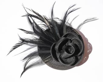 Beautiful Black Sinamay Headpiece