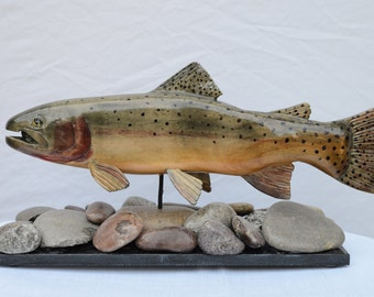Yellowstone Cutthroat Trout, hand-carved wood over river rock