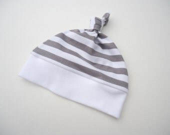 Stripes baby hat-Baby knot hat-Baby beanie for boys-Girl knot hat-Baby gender neutral hat