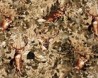 """Deer Elk printed Fabric made in Korea 45cm X 150cm or 18"""" X 59"""" by the Half Yard"""