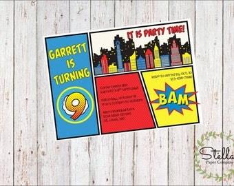 Comic Book Party Invitation Digital Download