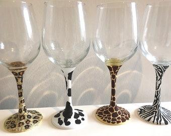 Animal print, giraffe, cow, xebra, leopard, christmas gift, hand painted wine glasses, gift for her, birthday, home decor, interior design.