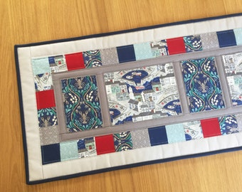 Seaside table runner, coastal table runner, quilted patchwork table topper, mothers day gift, kitchen decor, nautical decor, table mat