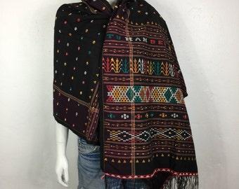 Vtg 70s hand loomed ethnic fringe beaded huipil african fiber art scarf shawl wrap cape poncho