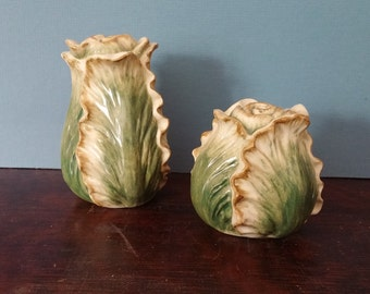 Vintage Fitz and Floyd Cabbage Salt and Pepper Shakers