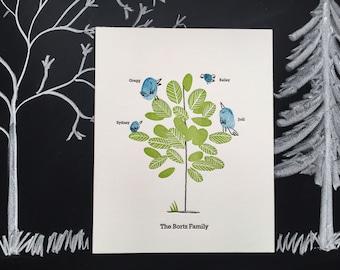 Letterpress Keepsake Family Tree