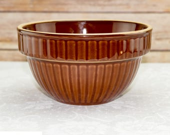 Vintage Over And Back Glazed Yellow Ware Pottery Bowl | Rustic Home Decor