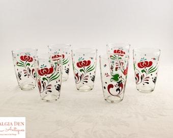 Vintage Glass Tumblers | 12 Oz PA Dutch Style Folk Art  Glasses | Set of 7