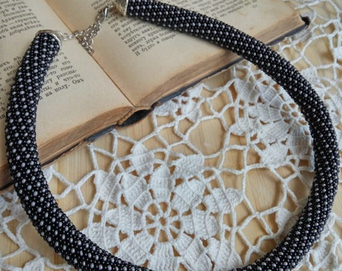 Black grey rope necklace bracelet classic print casual crochet gift for her polka unusual in circle beadwork office rope statement circle