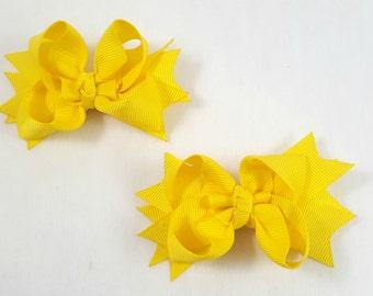 Yellow Mini Hair Bows-Set of 2/Hair Accessories/Little Girl Hair Bow/Toddler Hair Bow/Tween Bows/Pig Tails/Yellow Hair Bow/Stack Hair Bow/