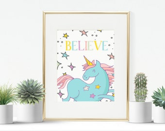Believe unicorn printable wall art print instant download printable 8 x 10 inches kids decor nursery instant download