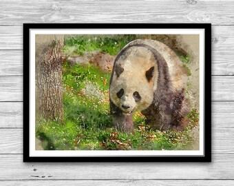 Panda Wall Art Panda Print Baby Room Decor, Panda Poster, Animal Wall Art, Panda Kinds Room, Nursery decor, Panda painting, Cotton Canvas