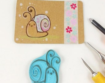 hand carved rubber stamp little cute snail  handmade stamp for scrapbooking scrapbook garden sommer stamp