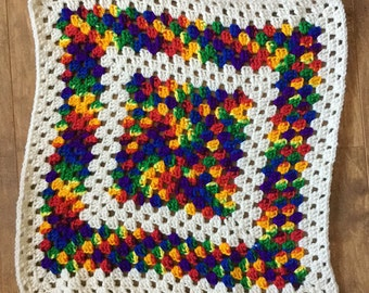 Rainbow Granny Square Afghan, Pet-Sized Afghan, Blankie, Handmade, Made in CA