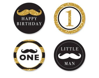 little man cupcake toppers,mustache cupcake toppers,printable little man cupcake toppers,little man birthday,gold glitter mustache birthday