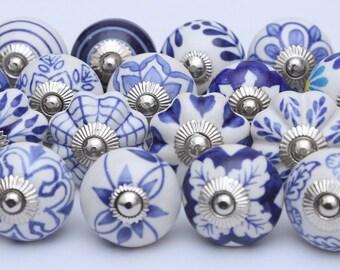 Blue And White Ceramic Knobs Ceramic Door Knobs Kitchen Cabinet Drawer Pulls